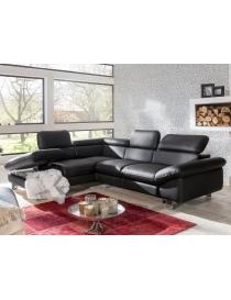 Canapé d'angle, cuir noir...