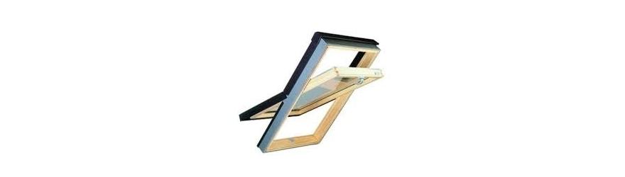 Fenêtre de toit en bois à rotation