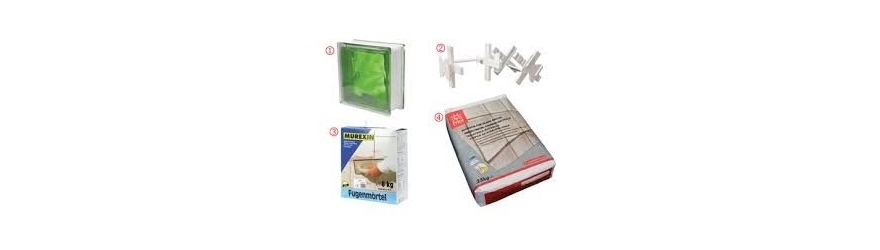 Briques en verre, adhésifs et accessoires