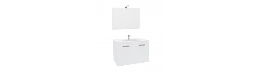 Kit meuble sous lavabo + lavabo + miroir